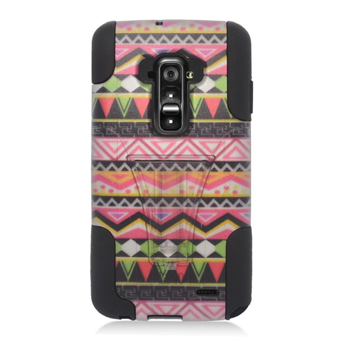 Insten Elegant Tribal Hybrid Stand PC/Silicone Case For LG G Flex, Colorful