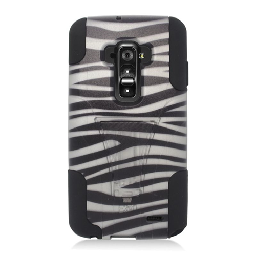 Insten Zebra Dual Layer Hybrid Stand PC/Silicone Case Cover Compatible With LG G Flex, Black/White