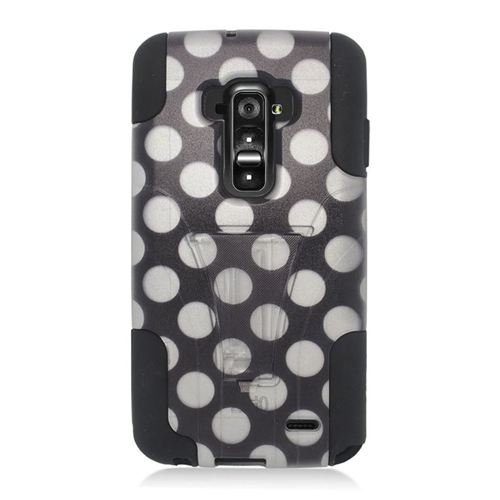 Insten Polka Dots Hybrid Stand PC/Silicone Case For LG G Flex, Black/White