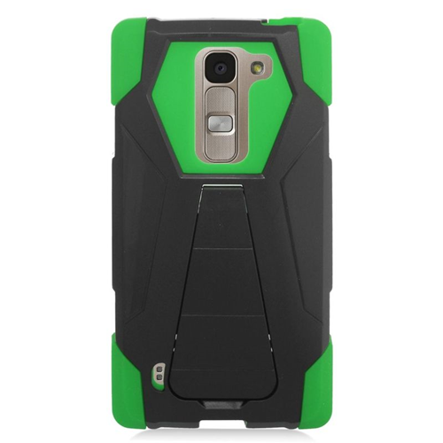 Insten Hybrid Stand PC/Silicone Case For LG Escape 2 H443 / H445, Black/Green