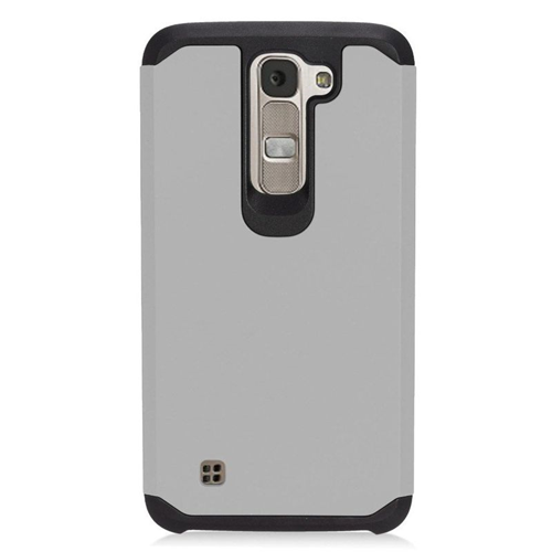 Insten Hybrid Rubberized Hard PC/Silicone Case For LG K7 Tribute 5, Gray/Black