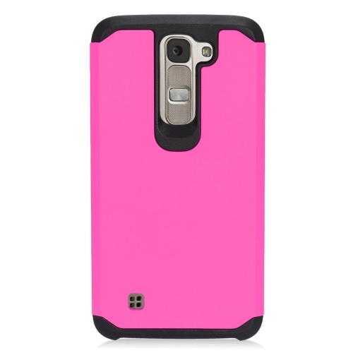 Insten Hybrid Rubberized Hard PC/Silicone Case For LG K7 Tribute 5, Hot Pink/Black