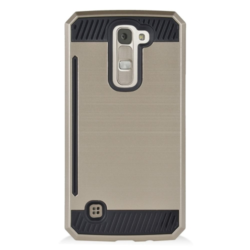 Insten Hybrid Rubberized Hard PC/Silicone ID/Card Slot Case For LG K7 Tribute 5, Gold/Black