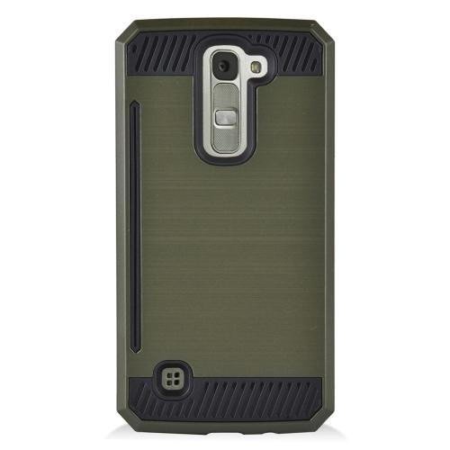 Insten Hybrid Rubberized Hard PC/Silicone ID/Card Slot Case For LG K7 Tribute 5, Dark Green/Black