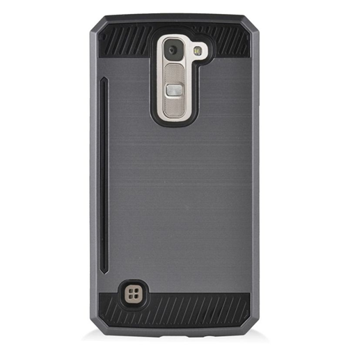 Insten Hybrid Rubberized Hard PC/Silicone ID/Card Slot Case For LG K7 Tribute 5, Gray/Black