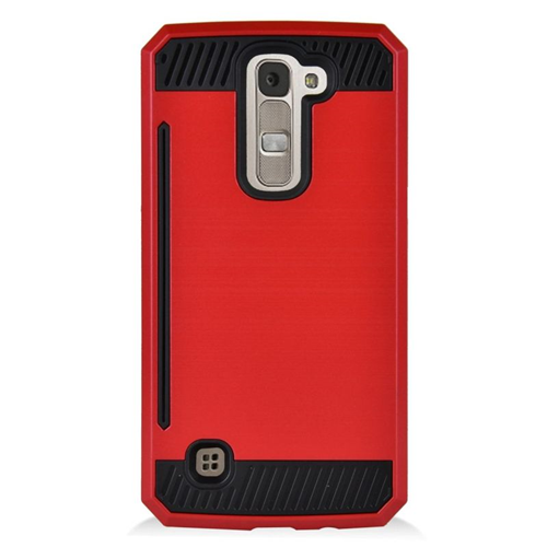 Insten Hybrid Rubberized Hard PC/Silicone ID/Card Slot Case For LG K7 Tribute 5, Red/Black