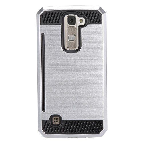 Insten Hybrid Rubberized Hard PC/Silicone ID/Card Slot Case For LG K7 Tribute 5, Silver/Black