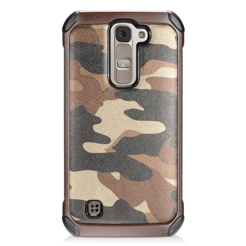 Insten Camouflage Hybrid Rubberized Hard PC/Silicone Case For LG K7 Tribute 5, Brown/Black