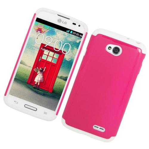 Insten Hybrid Hard PC/Silicone Case For LG Optimus L70 MS323/Realm LS620, Hot Pink/White
