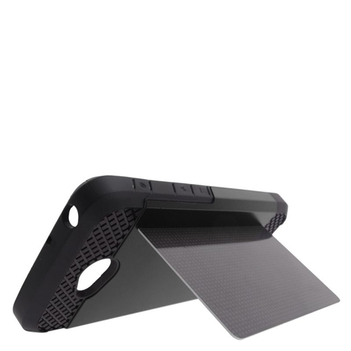 Insten Hybrid PC/TPU Rubber ID/Card Slot Case For LG Optimus L70 MS323/Realm LS620, Black