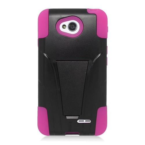 Insten Hybrid PC/Silicone Case For LG Optimus L70 MS323/Realm LS620, Black/Pink