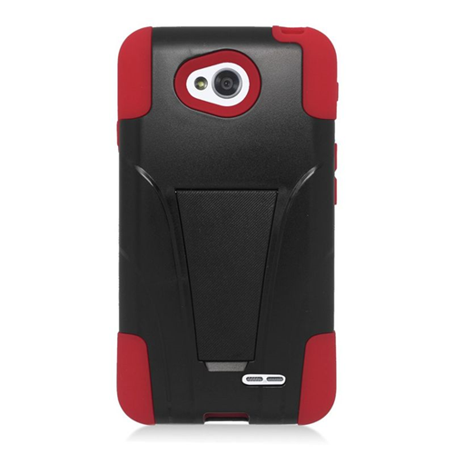 Insten Hybrid PC/Silicone Case For LG Optimus L70 MS323/Realm LS620, Black/Red