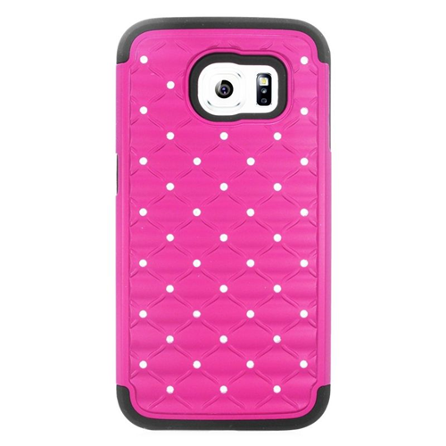 Insten Hybrid Hard PC/Silicone Case With Diamond For Samsung Galaxy S6 SM-G920, Hot Pink/Black