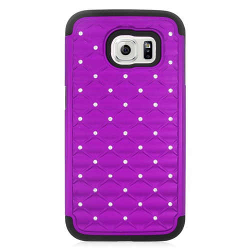 Insten Hybrid Hard PC/Silicone Case With Diamond Compatible Samsung Galaxy S6 SM-G920, Purple/Black