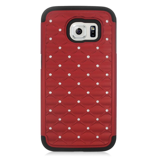 Insten Hybrid Hard PC/Silicone Case With Diamond Compatible Samsung Galaxy S6 SM-G920, Red/Black