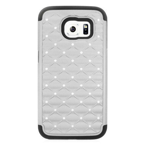 Insten Hybrid Hard PC/Silicone Case With Diamond Compatible Samsung Galaxy S6 SM-G920, Silver/Black