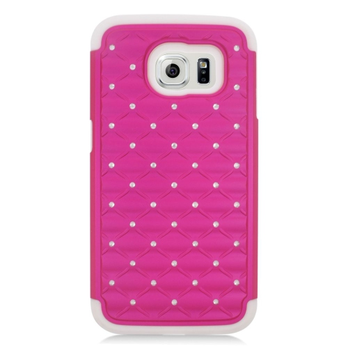 Insten Hybrid Hard PC/Silicone Case With Diamond For Samsung Galaxy S6 SM-G920, Hot Pink/White