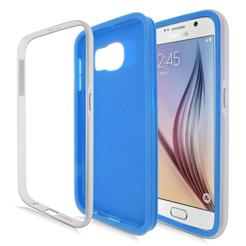 Insten Hybrid TPU Rubber Candy Skin Case For Samsung Galaxy S6 SM-G920, Blue/Silver