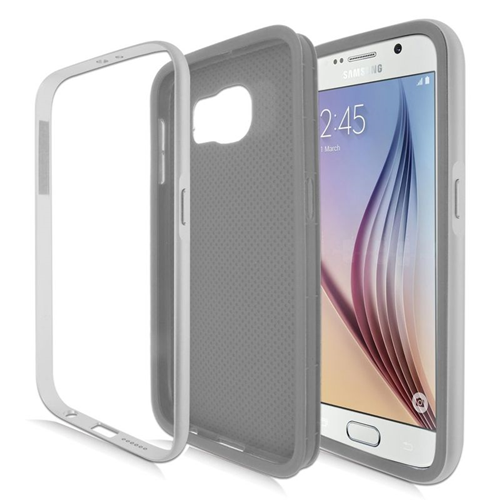 Insten Hybrid TPU Rubber Candy Skin Case For Samsung Galaxy S6 SM-G920, Gray/Silver