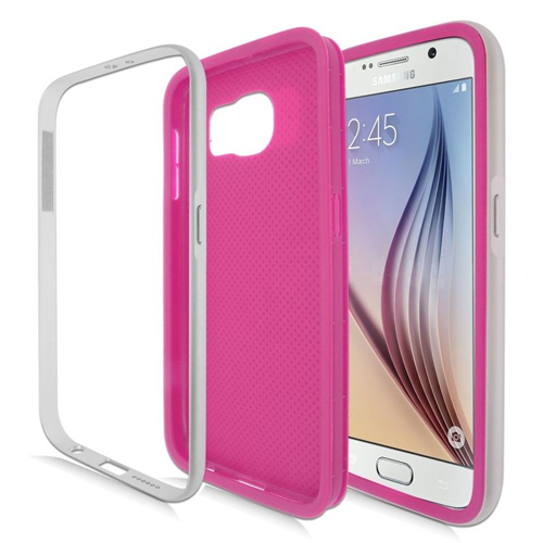 Insten Hybrid TPU Rubber Candy Skin Case For Samsung Galaxy S6 SM-G920, Hot Pink/Silver