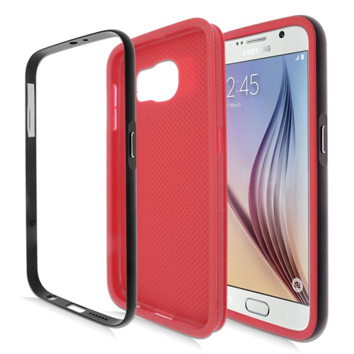 Insten Hybrid TPU Rubber Candy Skin Case For Samsung Galaxy S6 SM-G920, Red/Black