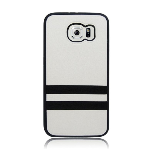 Insten Leather Case Cover Compatible With Samsung Galaxy S6 SM-G920, White/Black