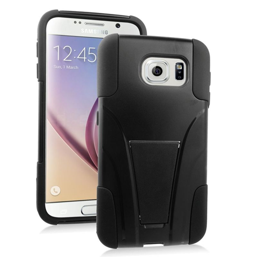 Insten Hybrid Stand PC/Silicone Case For Samsung Galaxy S6 SM-G920, Black