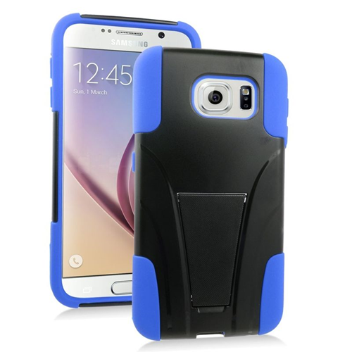 Insten Hybrid Stand PC/Silicone Case For Samsung Galaxy S6 SM-G920, Black/Blue