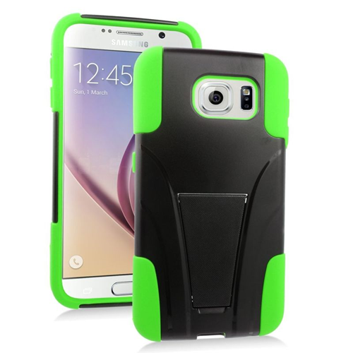 Insten Hybrid Stand PC/Silicone Case For Samsung Galaxy S6 SM-G920, Black/Green