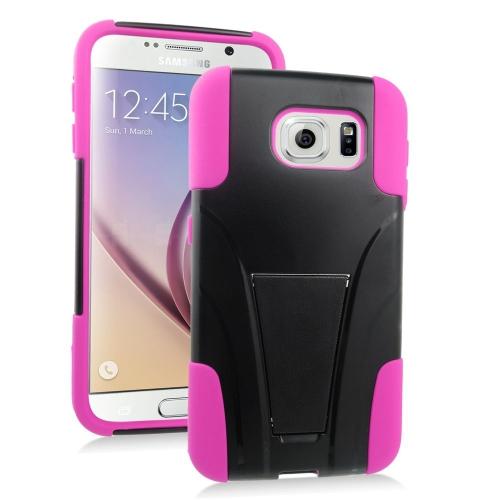 Insten Hybrid Stand PC/Silicone Case For Samsung Galaxy S6 SM-G920, Black/Hot Pink