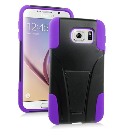 Insten Hybrid Stand PC/Silicone Case For Samsung Galaxy S6 SM-G920, Black/Purple