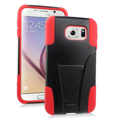 Insten Hybrid Stand PC/Silicone Case For Samsung Galaxy S6 SM-G920, Black/Red