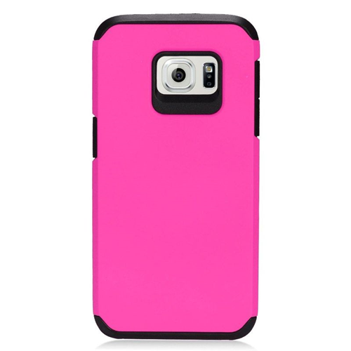 Insten Hybrid Rubberized Hard PC/Silicone Case For Samsung Galaxy S7, Hot Pink/Black