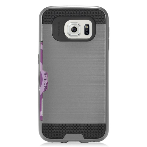 Insten Hybrid Rubberized Hard PC/Silicone ID/Card Slot Case For Samsung Galaxy S7, Gray/Black