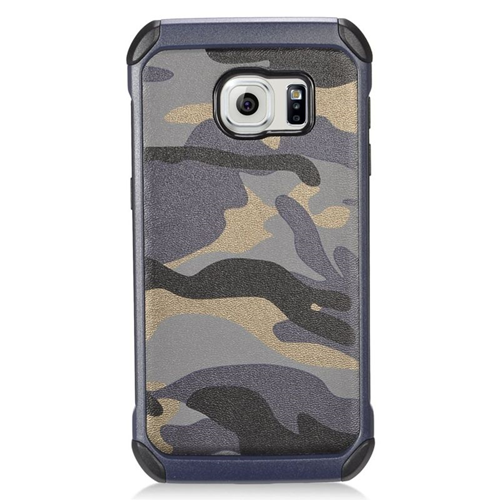 Insten Camouflage Hybrid Rubberized Hard PC/Silicone Case For Samsung Galaxy S7, Gray/Black
