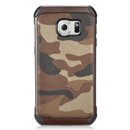 Insten Camouflage Hybrid Rubberized Hard PC/Silicone Case For Samsung Galaxy S7, Brown/Black