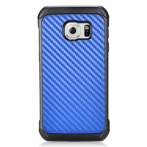 Insten Carbon Fiber Hybrid Rubberized Hard PC/Silicone Case For Samsung Galaxy S7, Blue/Black