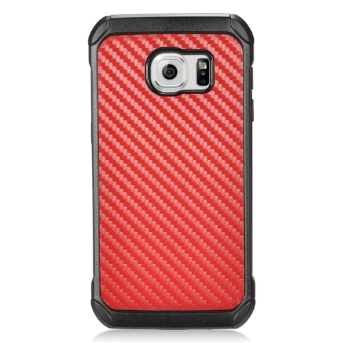 Insten Carbon Fiber Hybrid Rubberized Hard PC/Silicone Case For Samsung Galaxy S7, Red/Black