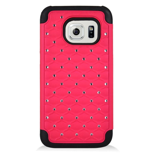 Insten Hybrid Hard PC/Silicone Case With Diamond Compatible Samsung Galaxy S7, Hot Pink/Black
