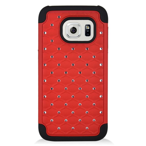 Insten Hybrid Rubberized Hard PC/Silicone Case With Diamond Compatible Samsung Galaxy S7, Red/Black