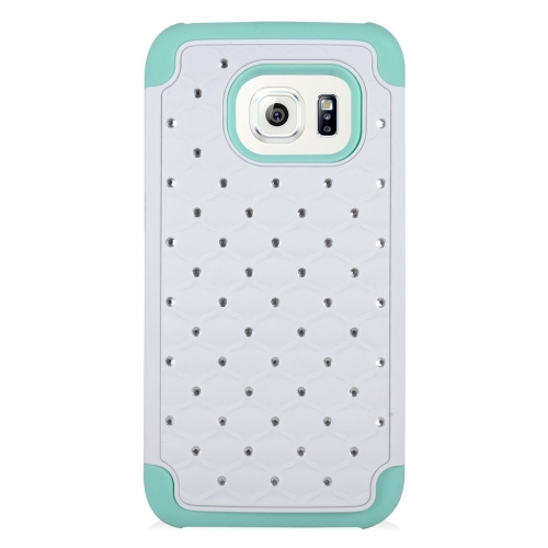 Insten Hybrid Rubberized Hard PC/Silicone Case With Diamond Compatible Samsung Galaxy S7, White/Mint