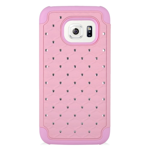 Insten Hybrid Rubberized Hard PC/Silicone Case With Diamond Compatible Samsung Galaxy S7, Pink