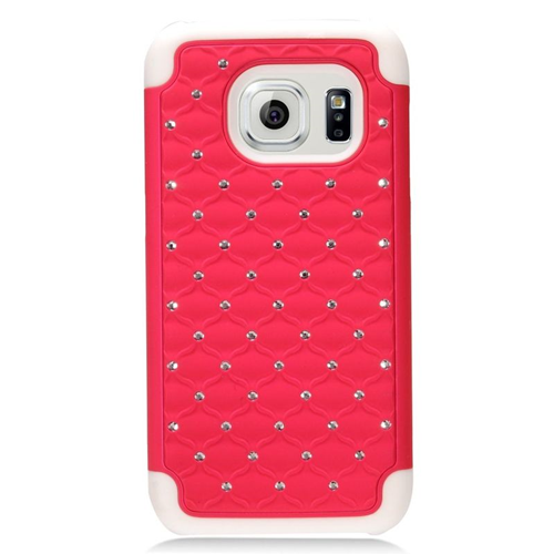 Insten Hybrid Hard PC/Silicone Case With Diamond Compatible Samsung Galaxy S7, Hot Pink/White