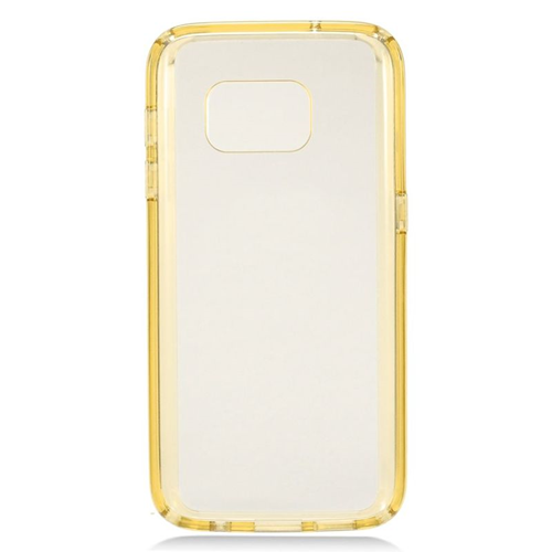 Insten TPU Rubber Candy Skin Case Cover Compatible With Samsung Galaxy S7, Clear/Gold