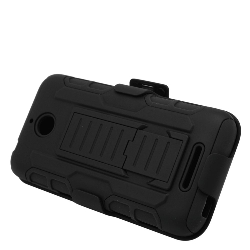 Insten Dual Layer Hybrid Stand PC/Silicone Holster Case Cover Compatible With HTC Desire 510, Black