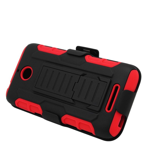 Insten Hybrid Stand PC/Silicone Holster Case For HTC Desire 510, Black/Red