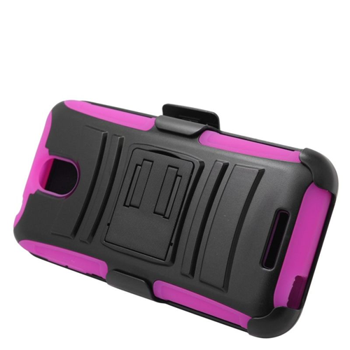Insten Hybrid Stand PC/Silicone Holster Case For HTC Desire 510, Black/Hot Pink