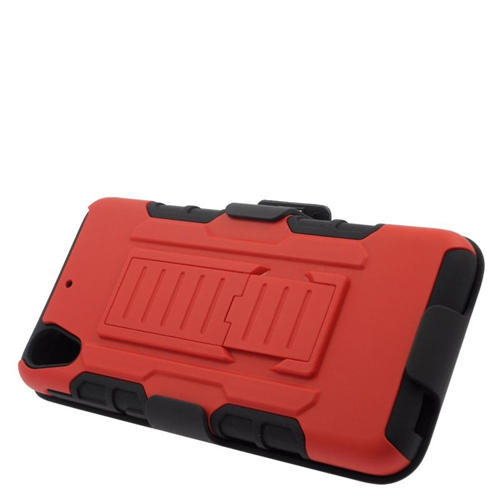 Insten Car Armor Hybrid Stand PC/Silicone Holster Case For HTC Desire 626, Red/Black