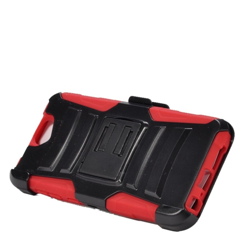Insten Dual Layer Hybrid Stand PC/Silicone Holster Case Cover Compatible With HTC One A9, Black/Red