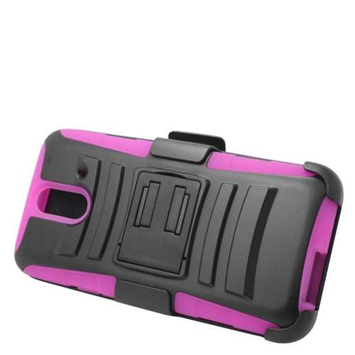 Insten Hybrid Stand PC/Silicone Holster Case For HTC One E8, Black/Hot Pink